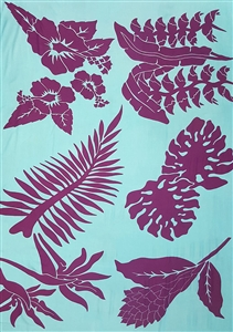 Plus Size Tahitian Island Print Light Blue with Purple