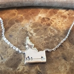 Down 2 Earth Side Hanging Sterling Silver Idaho with Heart Arrow Border Necklace