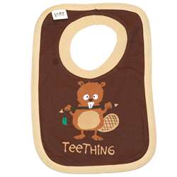 Lazy One Infant Teething Brown Bib
