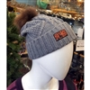 Down To Earth Idaho Skier Wool Slouchy Beanie with Fur Pom