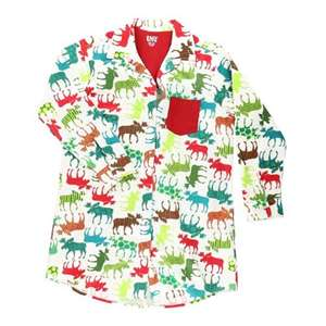 Lazy Ones Women's Flannel Patterned Moose Button Down Nightshirt