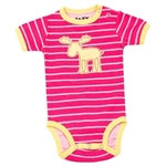 Lazy One Girl's Infant Stripe Moose Kreeper