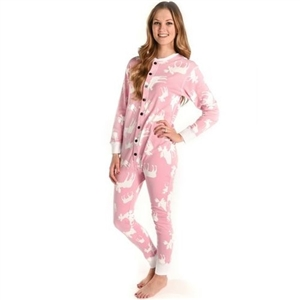 Lazy One Pink Classic Moose Adult Flapjacks Onesie,