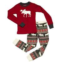 Lazy One Moose Fair Isle Kids PJ Set