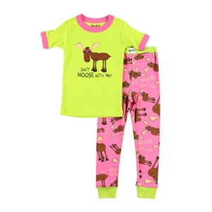 Lazy One Don't Moose With Me Girl's Kid's PJ Set