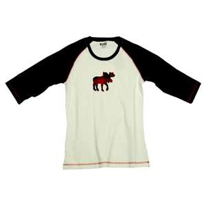 Lazy One Moose Plaid Applique PJ Raglan Tee
