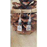 Down To Earth Mountain Love Diffuser Earrings with Black Lava Bead
