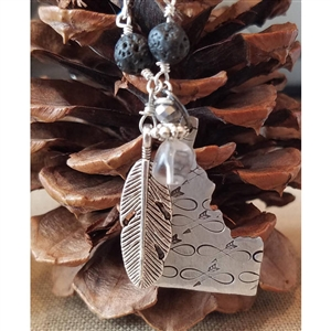 Down To Earth Idaho with Infinity Arrow, Feather, Smoky Quartz Dangle