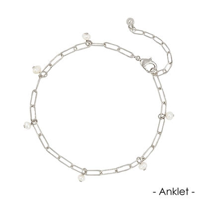 Silver Link Chain with Pearl Charms Anklet