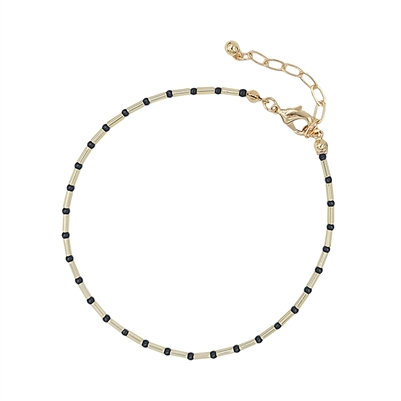 Black Seed Bead and Gold Anklet