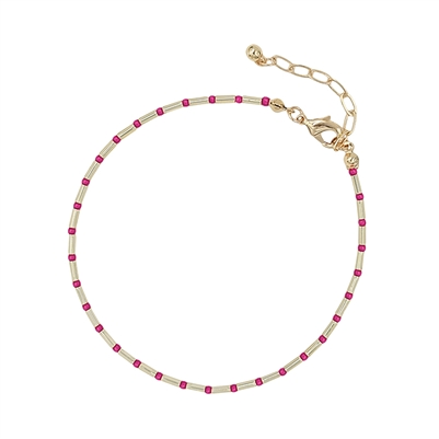 Pink Seed Bead and Gold Anklet