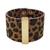 "Cheetah Print 2"" Bracelet with Gold Bar"