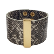 "Grey Snake Print 2"" Bracelet with Gold Bar"