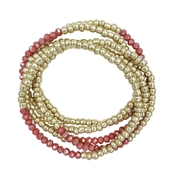 Gold Nuggt and Peach Crystal Set of 5 Stretch Bracelet