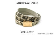 Snake Print Genuine Leather Wrap Bracelet
