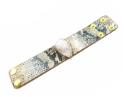 "Snake Print Leather with Druzy Stone 1.5"" Wide Snap Bracelet"