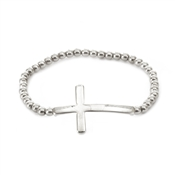 Sliver Beaded Cross Stretch Bracelet