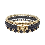 Black Rubber, Crystal, and Gold Beaded Set of 3 Stretch Bracelet