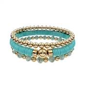 Teal Rubber, Crystal, and Gold Beaded Set of 3 Stretch Bracelet