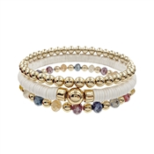 White Rubber, Multi Crystal, and Gold Beaded Set of 3 Stretch Bracelet