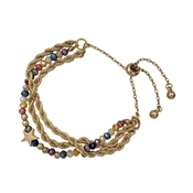 Multi Crystal with Star and Gold Draw String Bracelet