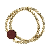 Gold Beaded with Maroon Wood Circle Stretch Bracelet