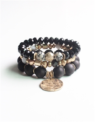 Set of Three Black, Gold, and Natural Stone Stretch Bracelet