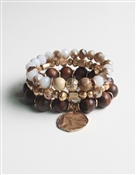 Set of Three Brown, Gold, and Natural Stone Stretch Bracelet