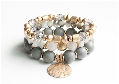 Set of Three Grey, Gold, and Natural Stone Stretch Bracelet