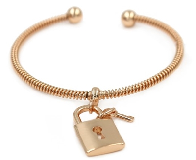 Gold Cuff Bracelet with Lock and Key Charm
