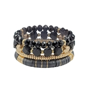 Set of 4 Black Crystal, Wood, and Gold Stretch Bracelets
