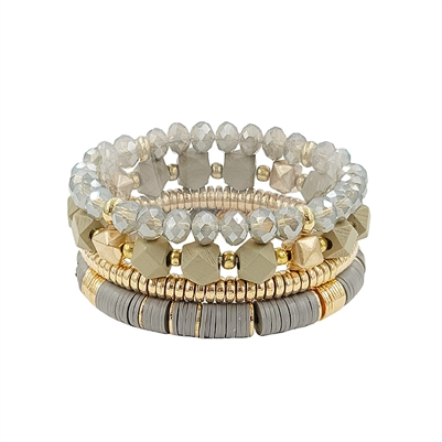 Set of 4 Grey Crystal, Wood, and Gold Stretch Bracelets