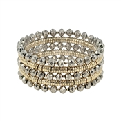 Set of 5 Gold and Grey Crystal Stretch Bracelets
