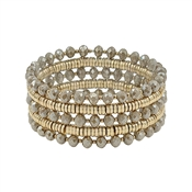 Set of 5 Gold and Light Mocha Crystal Stretch Bracelets