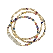 Multi Crystal and Gold Set of Three Stretch Bracelet with Crystal Bar