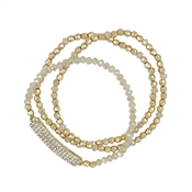 Natural Crystal and Gold Set of Three Stretch Bracelet with Crystal Bar