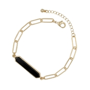 Black Natural Stone Bar on Gold Link Bracelet and Clasp Extender