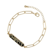 Dalmatian Natural Stone Bar on Gold Link Bracelet and Clasp Extender