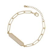 Cream Natural Stone Bar on Gold Link Bracelet and Clasp Extender