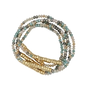 Set of 5 Light Multi Crystal and Gold Nugget Stretch Bracelet