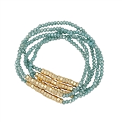 Set of 5 Mint Crystal and Gold Nugget Stretch Bracelet