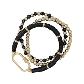 Set of 3 Black Rubber, Gold, and Crystal with Gold Carabiner Stretch Bracelet