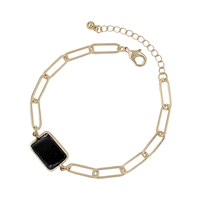 Gold Link Chain with Black Square Accent w/ Extender