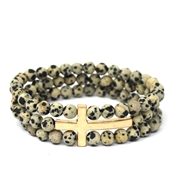 Dalmatian and Gold Three Row Cross Stretch Bracelet