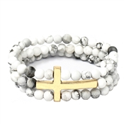 White Natural Stone and Gold Three Row Cross Stretch Bracelet