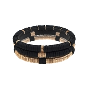 Black Rubber and Gold Set of 3 Stretch Bracelets