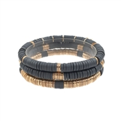 Grey Rubber and Gold Set of 3 Stretch Bracelets