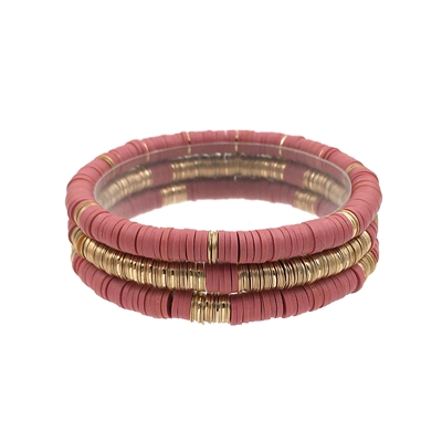 Pink Rubber and Gold Set of 3 Stretch Bracelets