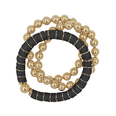 Black Rubber and Gold Beaded Set of 3 Stretch Bracelets