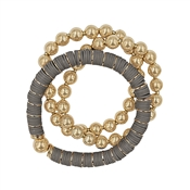 Grey Rubber and Gold Beaded Set of 3 Stretch Bracelets